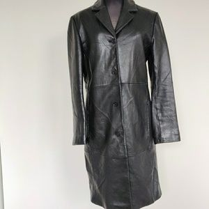 Long Nicole Miller Black Leather Trench Coat S